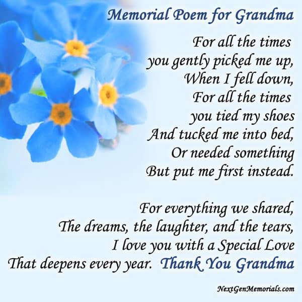 Memorial_poems_grandma on Latest What To Write In A Sympathy Card
