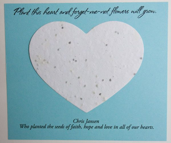 Blue and White Heart Forget-me-not Card