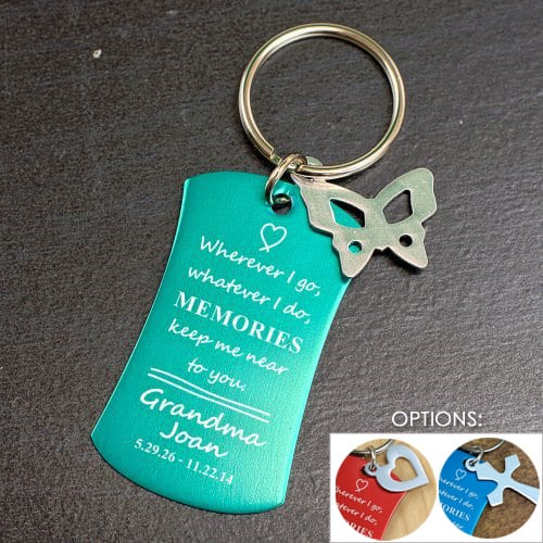 Memorial Keychain with Butterfly