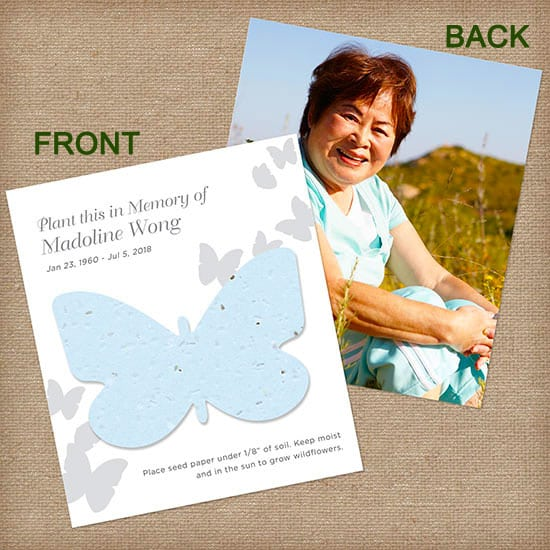 Photo memorial cards Blue Butterfly Per
