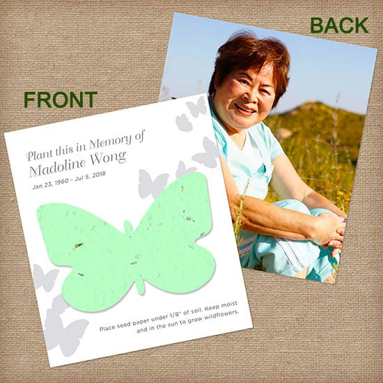 Green Butterfly Personalized Photo Memorial Card