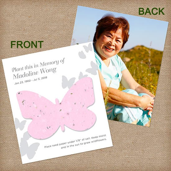 Pink Butterfly Personalized Photo Memorial Card