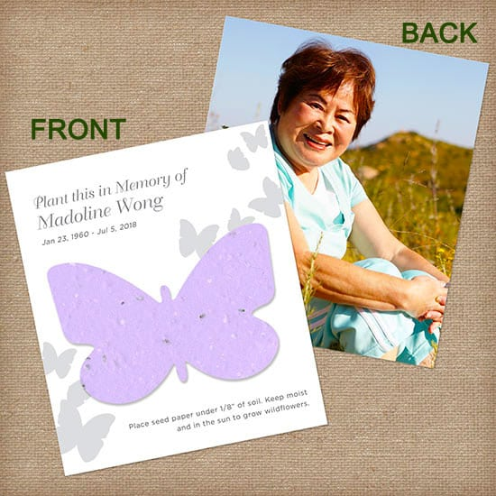 Purple Butterfly Personalized Photo Memorial Card