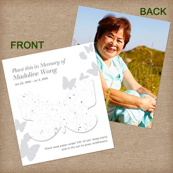 White Butterfly Personalized Photo Memorial Card