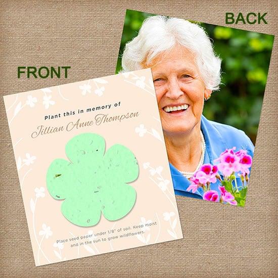 Green Memorial Flower Photo Card