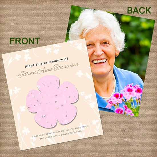 Pink Plantable Memorial Seed Cards with Photo