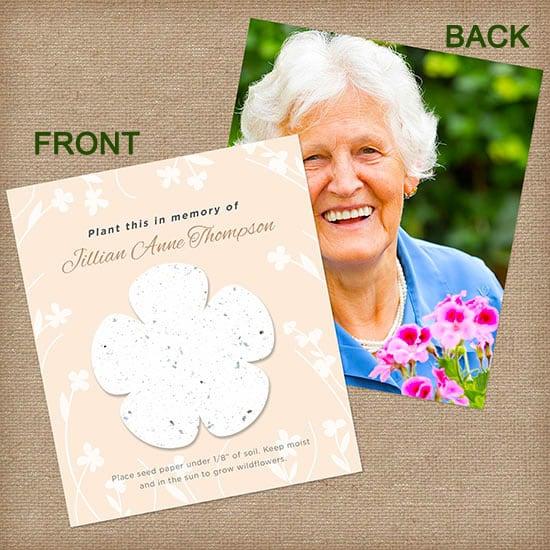 White Memorial Flower Photo Card