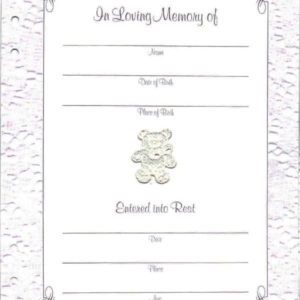 Precious Child Memorial Guest Book Page 2