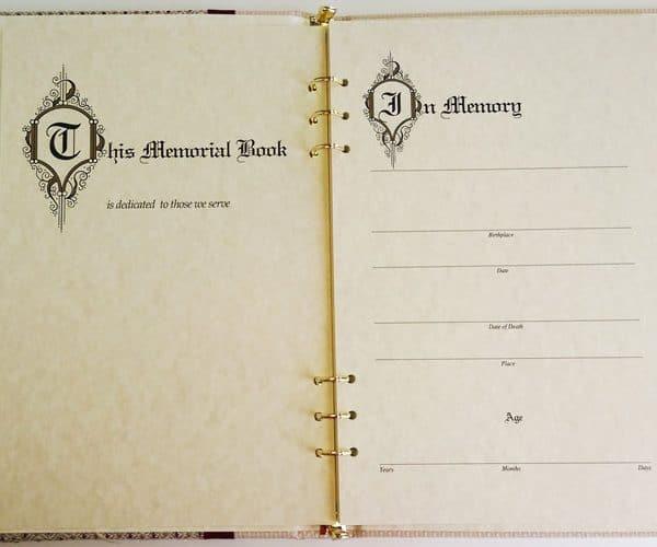 Dakota Memorial Guest Book Inside Page