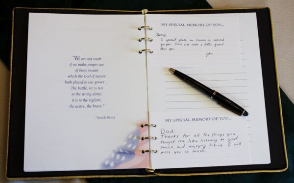 Inside Memorial Guest Book with Share Memory Cards Inserted