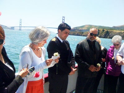 Scattering ceremony in San Francisco Bay