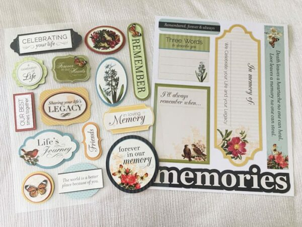 Memory board stickers pages. Left page contains 3-D Dimensional stickers.