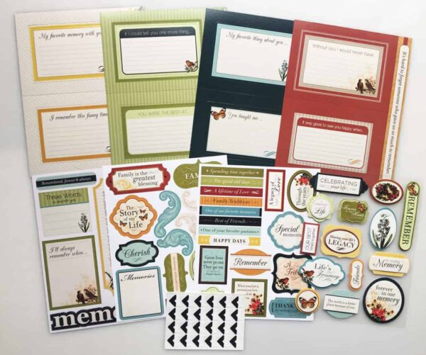 Complete Memory Board Kit contains 8 pages of embellishments, stickers, and sayings