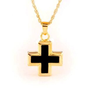 Gold Onyx Cross Cremation Jewelry